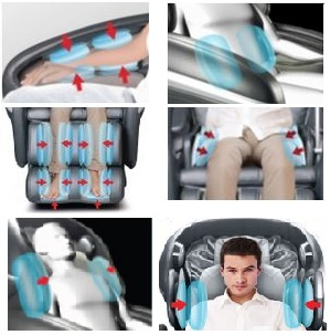 Airbag compression and massage for arms, shoulders, hips, legs, and waist.