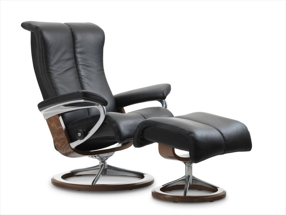 Black Paloma Leather Stressless Signature Series Piano Recliner.