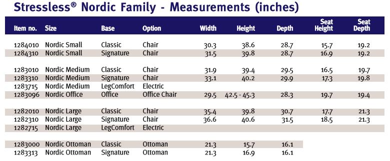 Dimensions and Measurements- Stressless Nordic Signature Base Recliner.