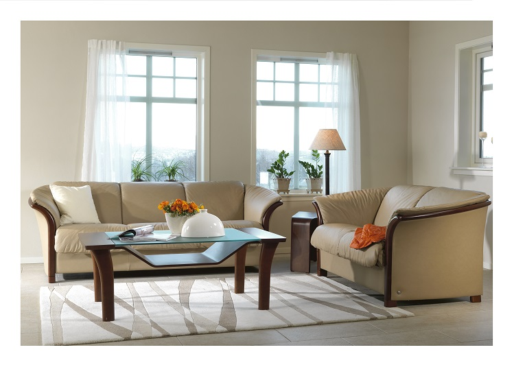 Manhattan Sofa and Love Seat by Ekornes- Sand Paloma.