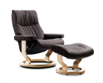 Stressless Crown Small Recliner and Ottoman Classic Base