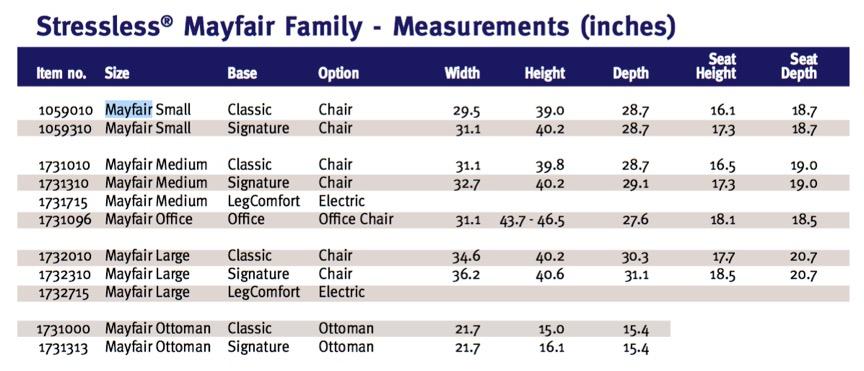 Ekornes Stressless Mayfair Family Product Dimensions