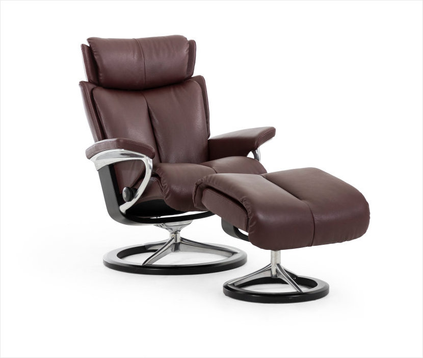 Stressless Signature Series Magic Recliner in Amarone Noblesse Leather.