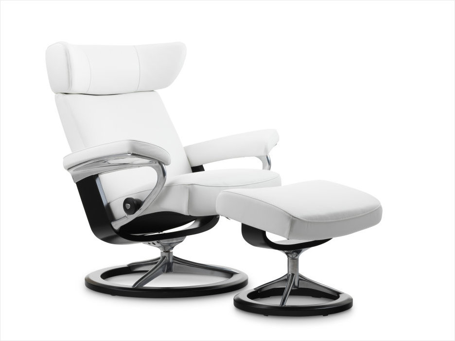 Stressless Viva Recliner in White Leather